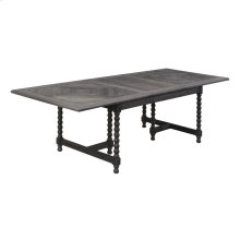 "Double Pedestal Dining Table W/24"" Butterfly Leaf-top Dark Pine Finish W/antique Black Legs"