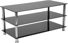 Riverside Collection Black Glass TV Stand with Stainless Steel Frame