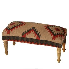 Red, Navy & Cream Tribal Kilim Bench
