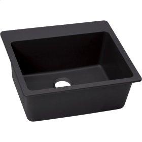 "Elkay Quartz Luxe 25"" x 22"" x 9-1/2"", Single Bowl Top Mount Sink, Caviar"