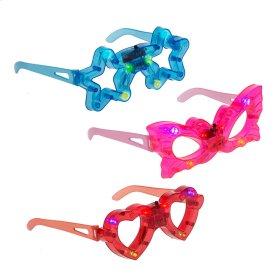 12 pc. ppk. LED Make Believe Play Glasses.