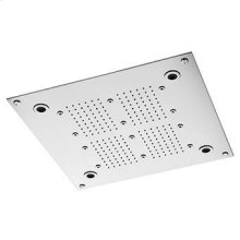 420x420 mm ceiling mounted stainless steel multifunction shower system. Jets: rain and atomising (spray). Chromoterapy and aromatherapy with built-in diffuser. Touch display with electronic diverter to control cromotherapy, aromatherapy and jets. Minimum flowrate requested: rain jet 12 lt. / min. atomizing jet 5 lt. / min.