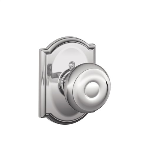 Georgian Knob with Camelot trim Non-turning Lock - Bright Chrome