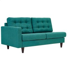 Empress Left-Facing Upholstered Fabric Loveseat in Teal