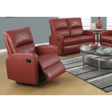 RECLINING CHAIR - SWIVEL GLIDER / RED BONDED LEATHER