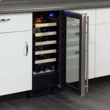 "Marvel 15"" Single Zone Wine Refrigerator - Stainless Frame Glass Door* - Left Hinge"