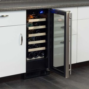 "MarvelMarvel 15"" Single Zone Wine Refrigerator - Stainless Frame Glass Door* - Left Hinge"