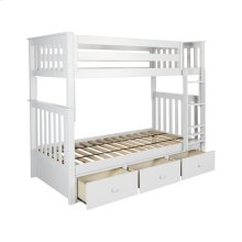 Twin/Twin Bunk   3 Drawer Storage White