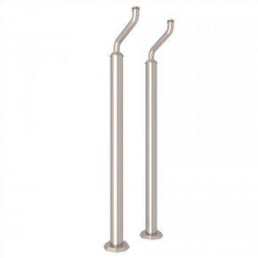 Satin Nickel Perrin & Rowe Deco Pair of Floor Pillar Legs or Supply Unions