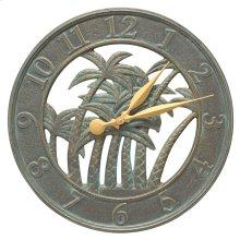 """18"""" Palm Wall Clock Indoor Outdoor - Bronze Verdigris"""