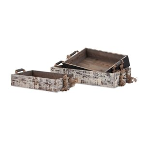 TY Outer Banks Wood Trays - Set of 3