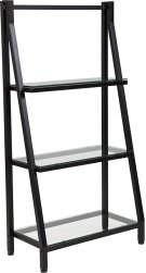 """Highland Collection 3 Shelf 45.5""""H Glass Bookcase with Black Metal Frame Product Image"""