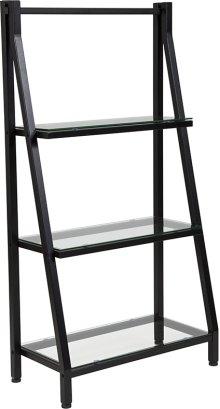Highland Collection Glass Bookshelf with Black Metal Frame