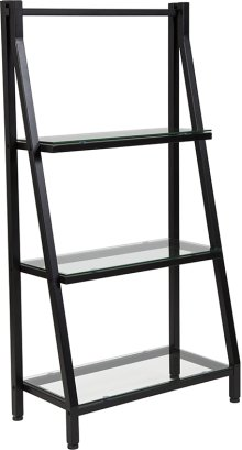 """Highland Collection 3 Shelf 45.5""""H Glass Bookcase with Black Metal Frame"""