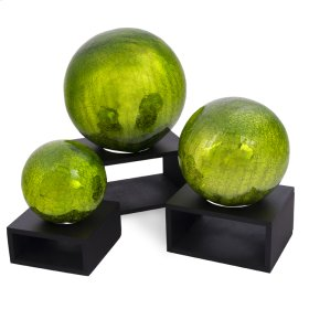 Crackle Lime Green Balls (Set of 3)