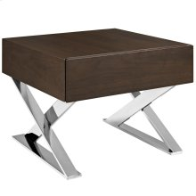 Sector Stainless Steel Nightstand in Brown