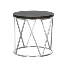 Armen Living Emerald Contemporary Round End Table in Brushed Stainless Steel with Grey Wood Top