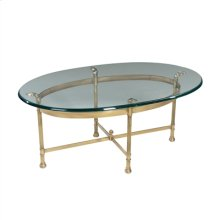 Polished Solid Brass Oval Cocktail Table with 1/2 Inch CVP Edge Glass Top
