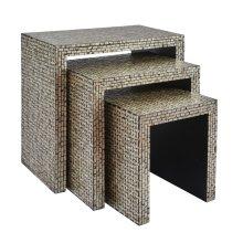 Global Archive Capiz Basket Weave Nesting Tables (set of 3) - Multi