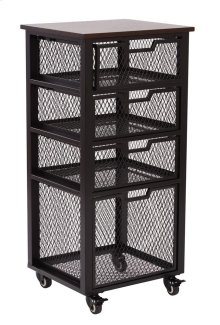 Garret Black 4 Drawer Rolling Cart With Espresso Wood Top, Fully Assembled.