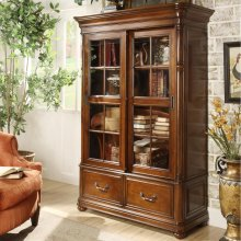 Bristol Court - Sliding Door Bookcase - Cognac Cherry Finish