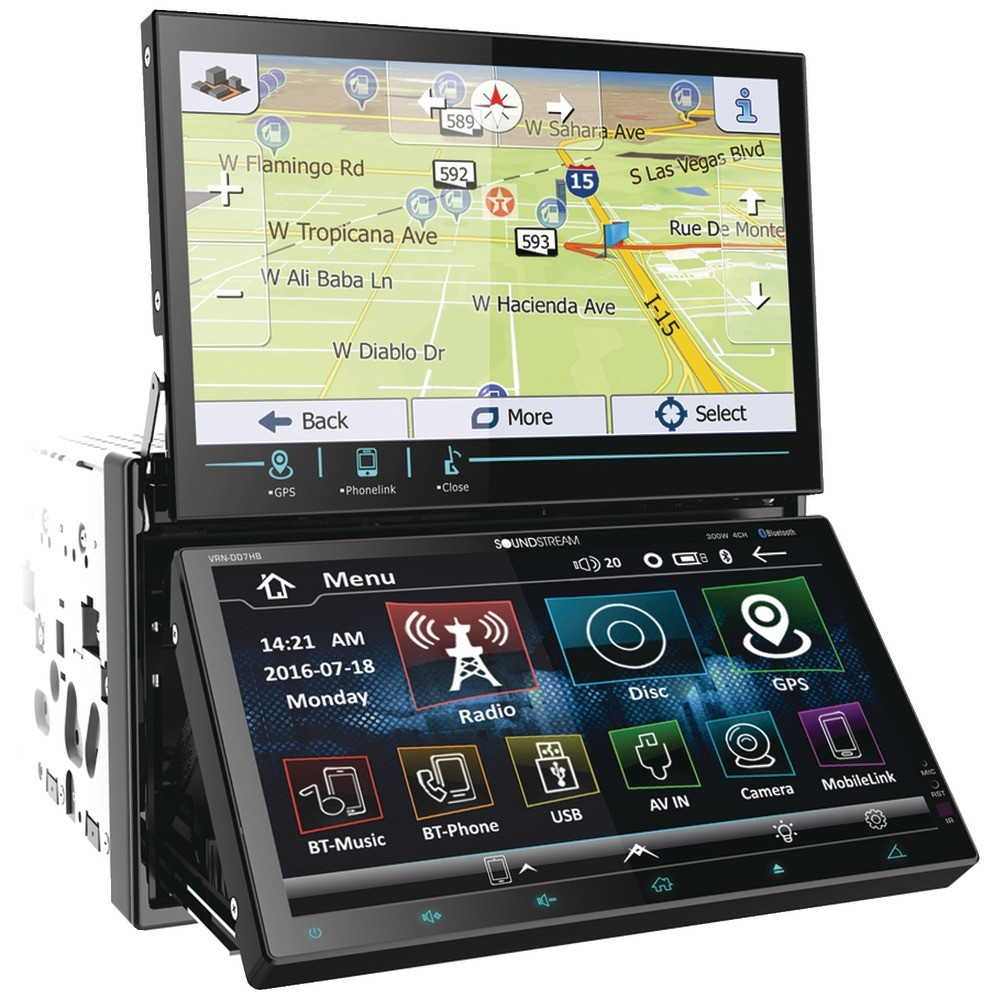 "Dual-7"" Motorized-Display Double-DIN In-Dash AptiX Navigation DVD Receiver with Bluetooth(R)"