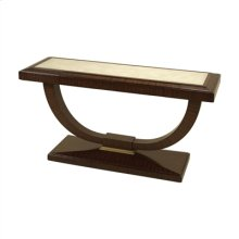 NATURAL FINISHED CONTEMPORARY ROSEWOOD CONSOLE TABLE, NAT URAL SHAGREEN INLAY