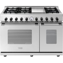 """Range NEXT 48"""" Classic Stainless steel 6 gas, griddle and 2 electric ovens, self-clean"""