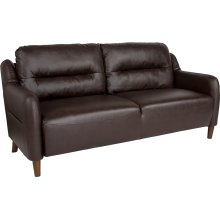 Newton Hill Upholstered Bustle Back Sofa in Brown Leather