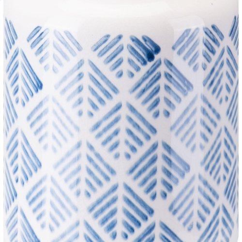 Zig Zag Vase Sm Steel Blue And White