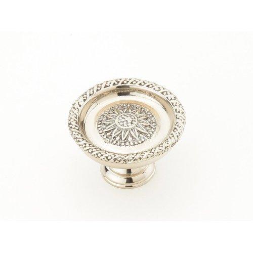 "Solid Brass, Symphony, Sunflower, Round Knob, 1-1/2"" diameter, White Brass finish"