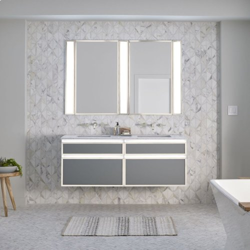 "Profiles 30-1/8"" X 7-1/2"" X 21-3/4"" Framed Slim Drawer Vanity In Satin White With Matte Gold Finish, Slow-close Plumbing Drawer and Selectable Night Light In 2700k/4000k Color Temperature"