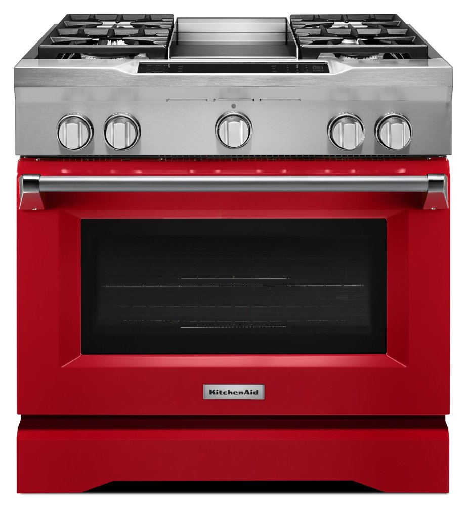 KitchenAid36'' 4-Burner With Griddle, Dual Fuel Freestanding Range, Commercial-Style - Signature Red
