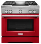 36'' 4-Burner with Griddle, Dual Fuel Freestanding Range, Commercial-Style - Signature Red Product Image
