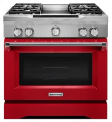 36'' 4-Burner with Griddle, Dual Fuel Freestanding Range, Commercial-Style - Signature Red