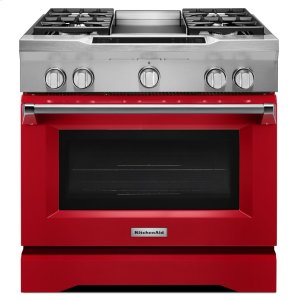 36'' 4-Burner with Griddle, Dual Fuel Freestanding Range, Commercial-Style - Signature Red - SIGNATURE RED