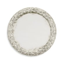 "Carved and Silver Gilded 24"" Round Hanging Wall Mirror"