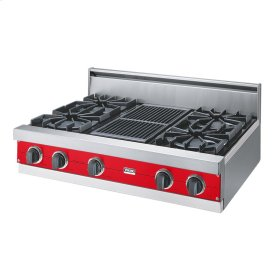 """Racing Red 36"""" Open Burner Rangetop - VGRT (36"""" wide, four burners 12"""" wide char-grill)"""