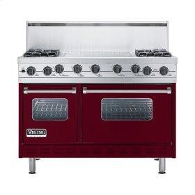 """Burgundy 48"""" Sealed Burner Self-Cleaning Range - VGSC (48"""" wide, four burners & 24"""" wide griddle/simmer plate)"""