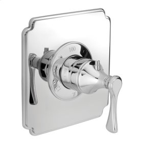 Matte White Square Thermostatic Trim Plate with Handle