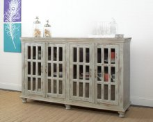 Four Door Sideboard- Distressed Grey/Seafoam