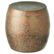 Bronze Patina Drum Table.