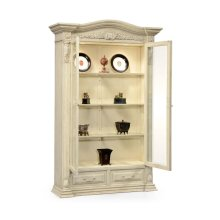 French Provincial Dusty White Glazed China Cabinet