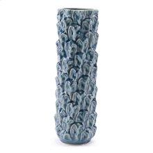 Textured Lg Vase Blue