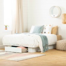 1-Drawer Platform Bed, No Box Spring Required - Pure White