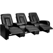 Eclipse Series 3-Seat Reclining Black Leather Theater Seating Unit with Cup Holders Product Image