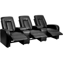 Eclipse Series 3-Seat Reclining Black Leather Theater Seating Unit with Cup Holders