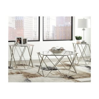 Madanere Chrome 3 Piece Table Set