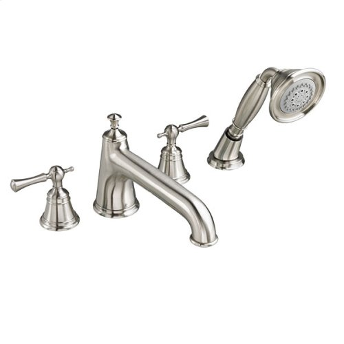 Randall Water Saving Deck Mount Bathtub Faucet with Hand Shower with Lever Handles - Brushed Nickel