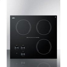 230v Three-burner Cooktop In Black Ceramic Glass, Made In Europe